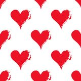 Seamless pattern of hearts. Contrast materials of red and white. Grunge image Royalty Free Stock Photography