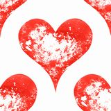 Seamless pattern of hearts. Contrast materials of red and white. Grunge image Stock Images