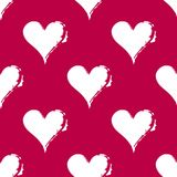Seamless pattern of hearts. Contrast materials of red and white. Grunge image Royalty Free Stock Photos