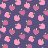 Seamless pattern with hearts and crowns. Vector background in pink and violet colors Stock Image
