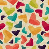 Seamless pattern with hearts on crumpled paper Royalty Free Stock Photography