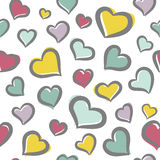 Seamless pattern with hearts. Seamless pattern with cute freehand hearts Royalty Free Stock Image