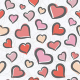 Seamless pattern with hearts. Seamless pattern with cute freehand hearts Royalty Free Stock Photo