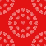 Seamless pattern with hearts. Decoupage illustration. Seamless pattern red background with white hearts. Decoupage vector illustration Stock Images