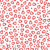 Seamless pattern hearts dots. Seamless pattern of hand drawn hearts-vector illustration. Red ornament dots Royalty Free Stock Photos