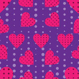 Seamless pattern with hearts and dots in a pop art style. Vector Stock Images