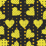 Seamless pattern with hearts and dots in a pop art style. Vector Royalty Free Stock Photos