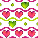 Seamless pattern with hearts. And dots.Vector illustration Royalty Free Stock Photo