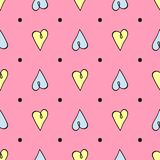 Seamless pattern with hearts drawn by hand. Sketch, doodle. royalty free stock photos