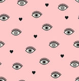 Seamless pattern with hearts and eyes. Vector illustration Royalty Free Stock Images