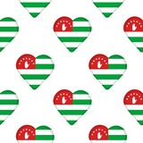 Seamless pattern from the hearts with flag of  Abkhazia. Vector illustration Stock Photos