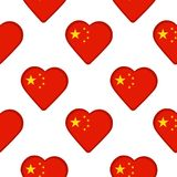 Seamless pattern from the hearts with flag of China. Royalty Free Stock Photo