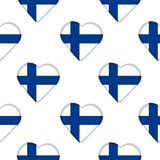 Seamless pattern from hearts with flag of Finland. Vector illustration Stock Photos