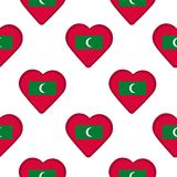Seamless pattern from the hearts with flag of Maldives. Vector illustration Royalty Free Stock Photography