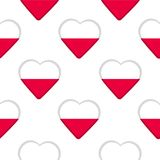 Seamless pattern from the hearts with flag of Poland. Vector illustration stock illustration