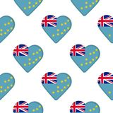 Seamless pattern from the hearts with flag of Tuvalu. Vector illustration Royalty Free Stock Photography