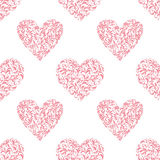 Seamless pattern with hearts from floral tracery on a white back Stock Photography