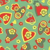 Seamless pattern with hearts and flowers Stock Photos