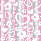 Seamless pattern with hearts and flowers Royalty Free Stock Images