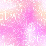 Seamless pattern with hearts, flowers, butterfly and lettering on blurred background Royalty Free Stock Image