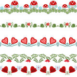 Seamless pattern with hearts, flowers and mushrooms Royalty Free Stock Photos