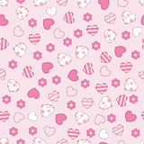 Seamless pattern with  hearts and flowers Royalty Free Stock Photos