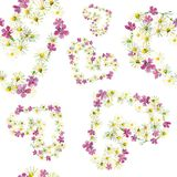 Seamless pattern of hearts of flowers royalty free illustration