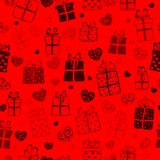 Seamless pattern of hearts and gift boxes Stock Image