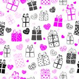 Seamless pattern of hearts and gift boxes Stock Images