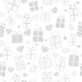 Seamless pattern of hearts and gift boxes Stock Photography