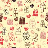 Seamless pattern of hearts and gift boxes Royalty Free Stock Photo