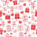 Seamless pattern of hearts and gift boxes Royalty Free Stock Photos
