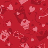 Seamless pattern with hearts. Gifts and cupcakes. Vector illustration Royalty Free Stock Photo