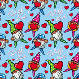 Seamless pattern with hearts, gnomes and sign With love!. Rast Royalty Free Stock Photography