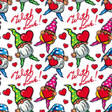 Seamless pattern with hearts, gnomes and sign `With love!`. Raster clip art. Royalty Free Stock Photos
