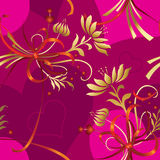 Seamless pattern with hearts and golden flowers vector illustration