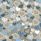 Seamless pattern with hearts on a gray background. For textiles, interior design, for book design, website background Stock Photo
