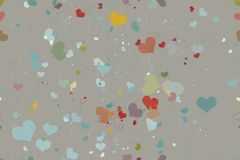 Seamless pattern of hearts on a grey background Royalty Free Stock Image