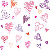 Seamless pattern with hearts. Hand draw vector illustration in doodle style. Stock Images