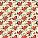 Seamless pattern of  hearts Stock Photography