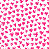 Seamless pattern with hearts. Seamless pattern with hand-drawn pink hearts on white background Stock Photos