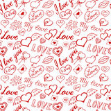 Seamless pattern of hearts and handwriting. valentines day Royalty Free Stock Images
