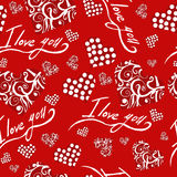 Seamless pattern with hearts i love you valentines day Stock Photo