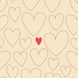 Seamless pattern of hearts. Illustration of cute valentines heart on beige in vector Stock Image