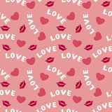 Seamless pattern with hearts lips  and inscription love on pink Royalty Free Stock Photos