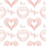 Seamless pattern with hearts, lips and inscriptions `I love you` and `kiss` painted with small strokes. Stock Photo