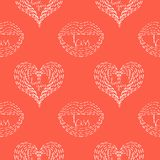 Seamless pattern with hearts, lips and inscriptions . Stock Images