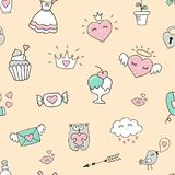 Seamless pattern with hearts and love doodles Stock Illustration