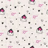 Seamless pattern with hearts and love letters. Vector illustration Stock Photos