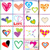 Seamless pattern with hearts and love messages Stock Images